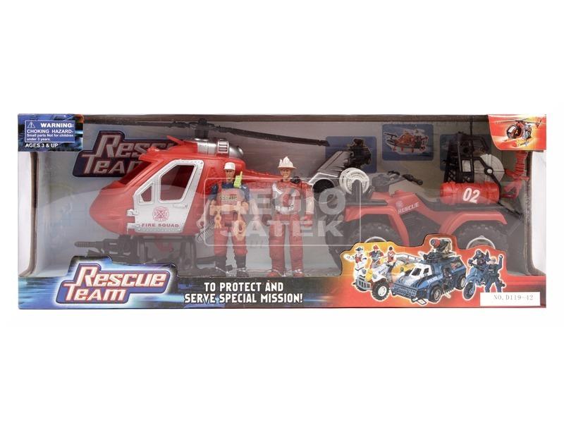 Tűzoltó quad és helikopter készlet figurákkal