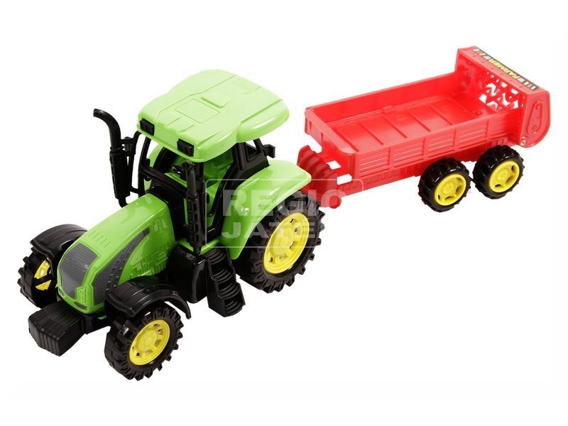 kép nagyítása Műanyag traktor utánfutóval - 31 cm