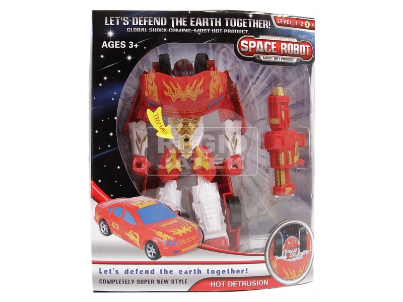 Hot Detrusion átalakuló robot - piros, 18 cm