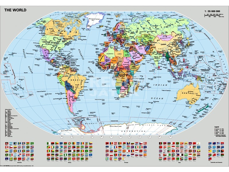 Világtérkép zászlókkal 1000 darabos puzzle