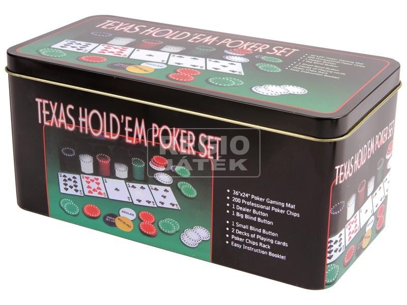 Póker készlet fémdobozban 200 darab zsetonnal