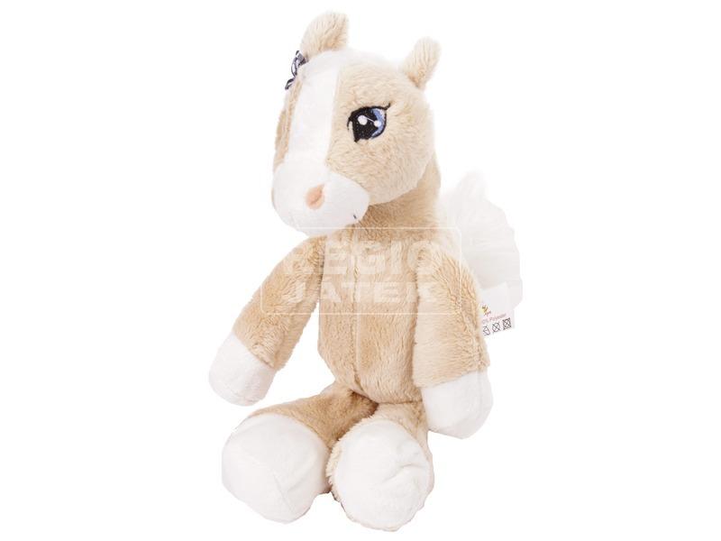 Ló ülő plüssfigura - világosbarna, 18 cm