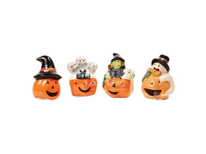 Kerámia Halloween tök figurák, 4 féle