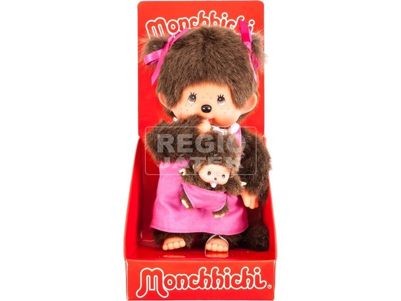 Monchhichi lány kicsinyével plüssfigura - 20 cm