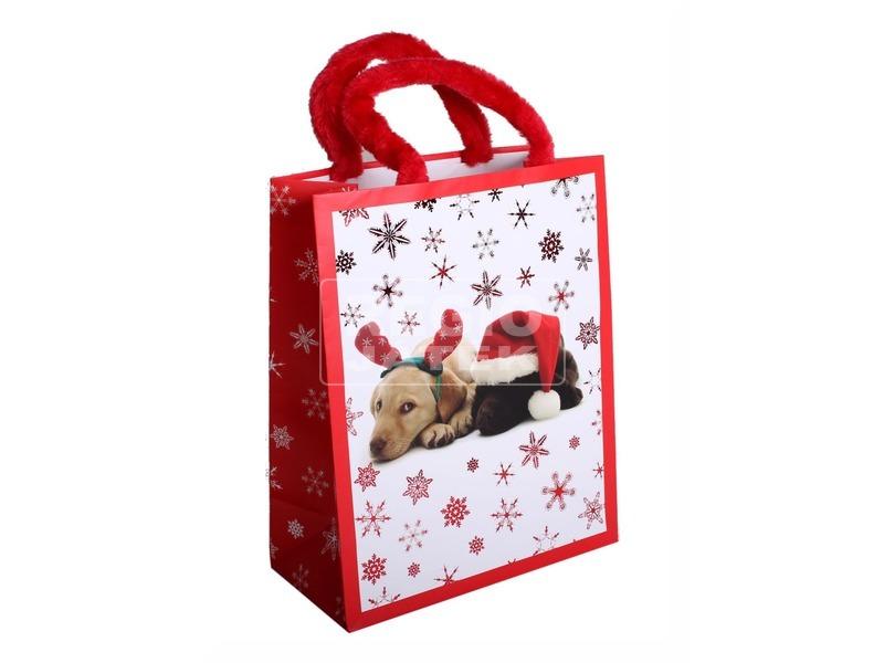 Papírtasak M +HS. PLF Karácsonyi kutyus