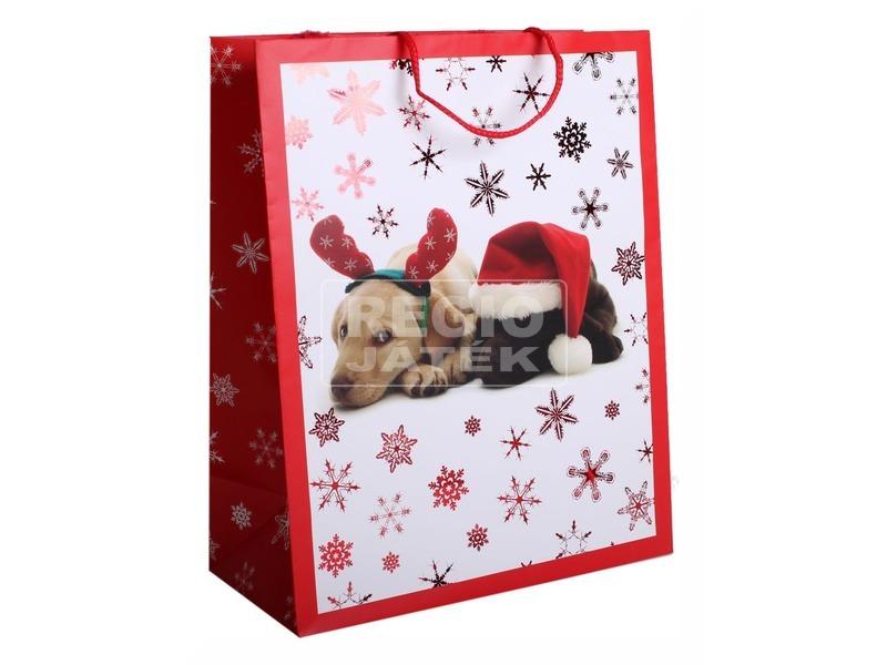 Papírtasak M +HS Karácsonyi Kutyusok