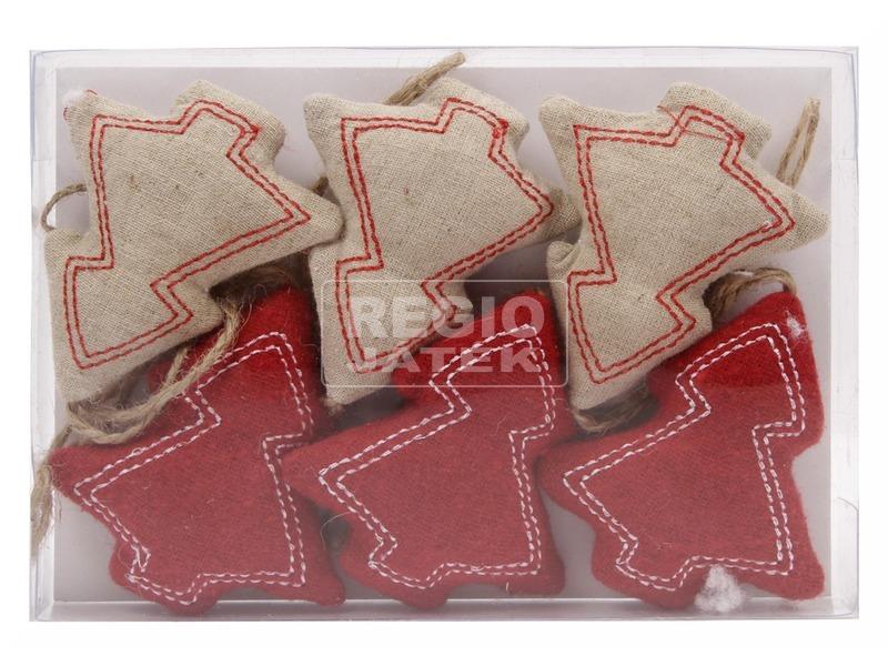 Textil fenyő dekoráció 6 darabos készlet