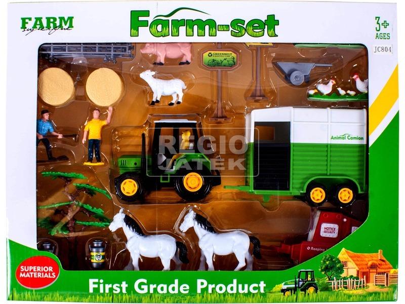 Mezőgazdasági készlet traktorral, figurákkal és utánfutókkal