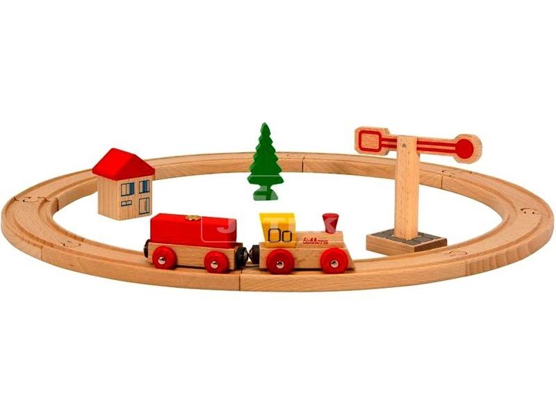 kép nagyítása Eichhorn 15 darabos fa vonatkészlet