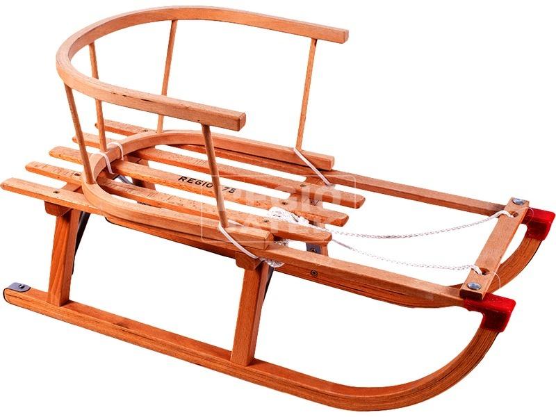 Fa szánkó karfával és kötéllel - 75 cm
