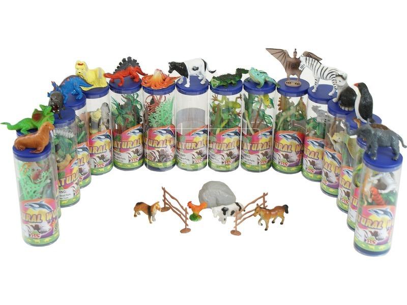 Műanyag állatfigurák hengerben