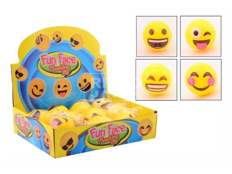 Smiley világító labda - 5 cm, többféle