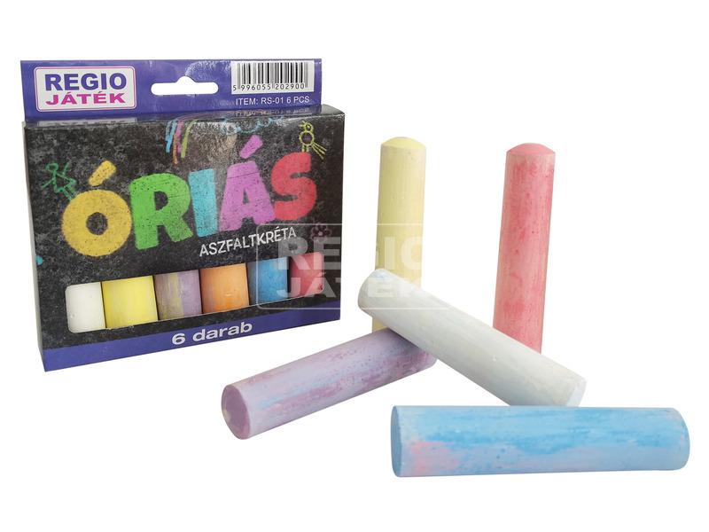 Óriás aszfaltkréta 6 darabos készlet - vegyes színek