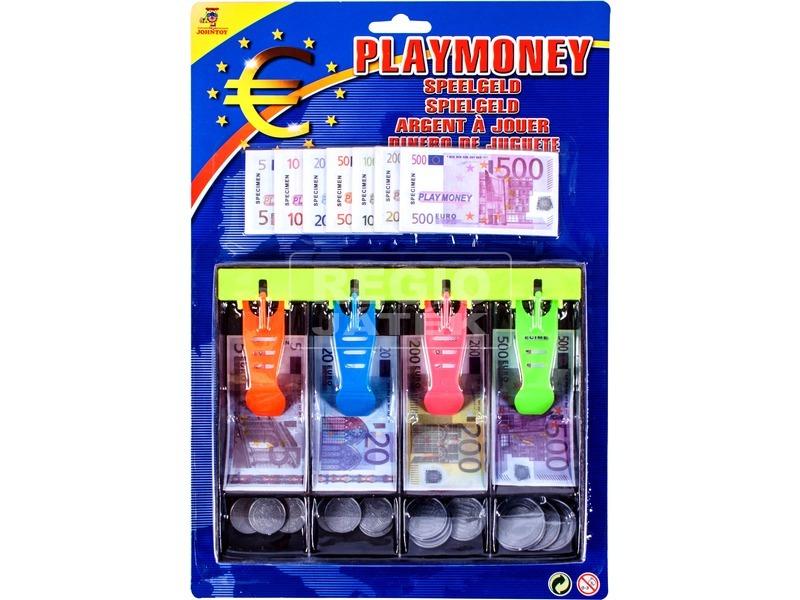 Euro játékpénz kasszafiókkal 120 darabos készlet
