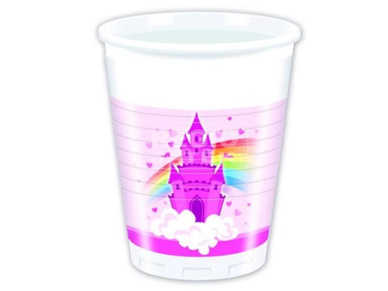 Szivárvány kastély műanyag pohár, 200 ml 8 db