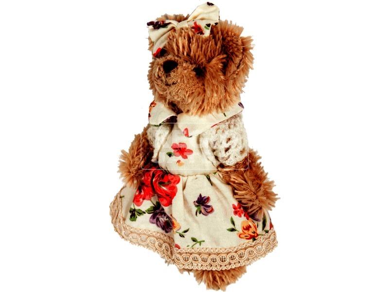 Macilány plüssfigura virágmintás ruhában - 15 cm
