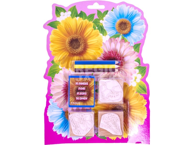 Virágok 3 darabos nyomdajáték színes ceruzákkal