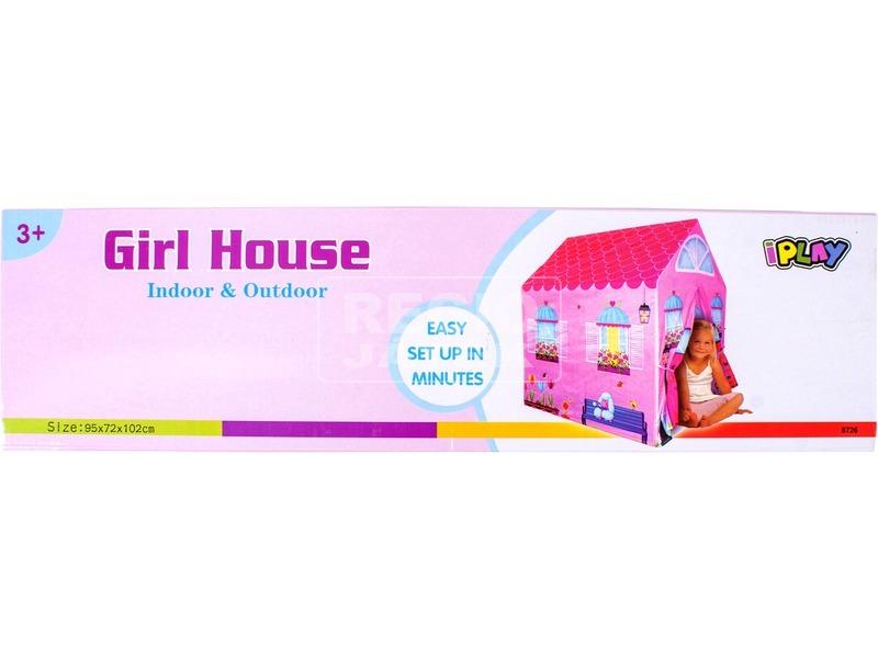 kép nagyítása Rózsaszín házikó játszósátor