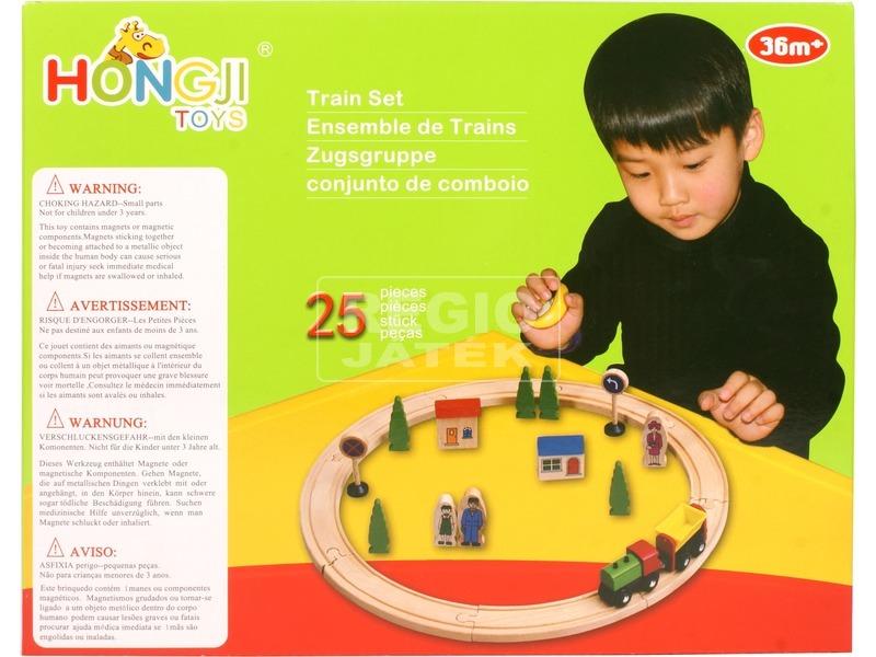 kép nagyítása Fa 25 darabos vonatkészlet