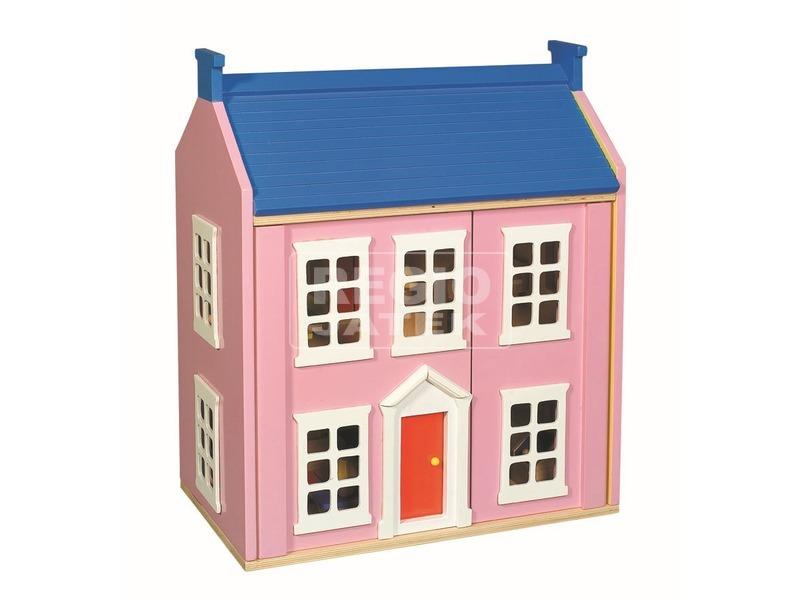 Fa babaház bútorokkal - rózsaszín