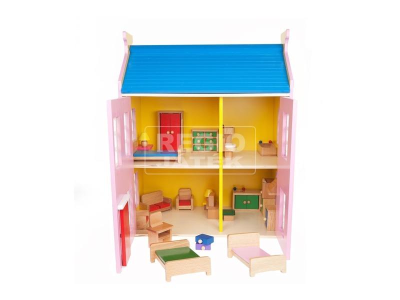 kép nagyítása Fa babaház bútorokkal - rózsaszín