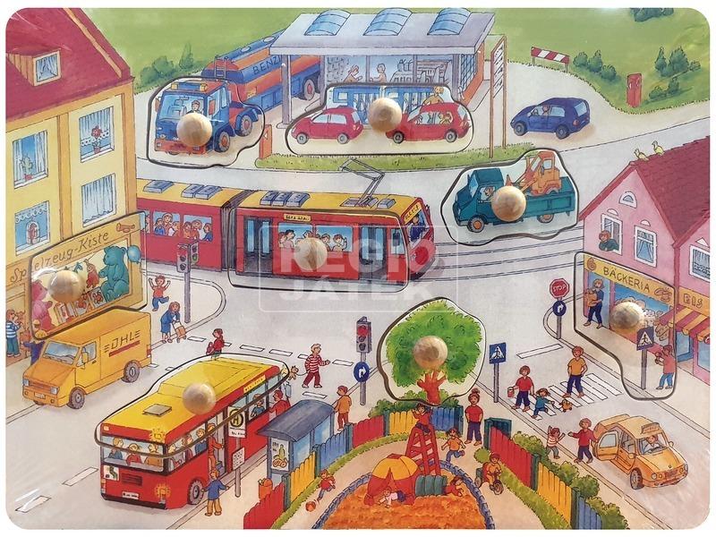 Autók 9 darabos fa puzzle