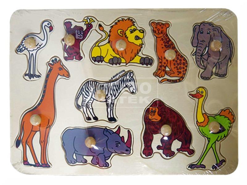 Afrikai állatok 10 darabos fa puzzle