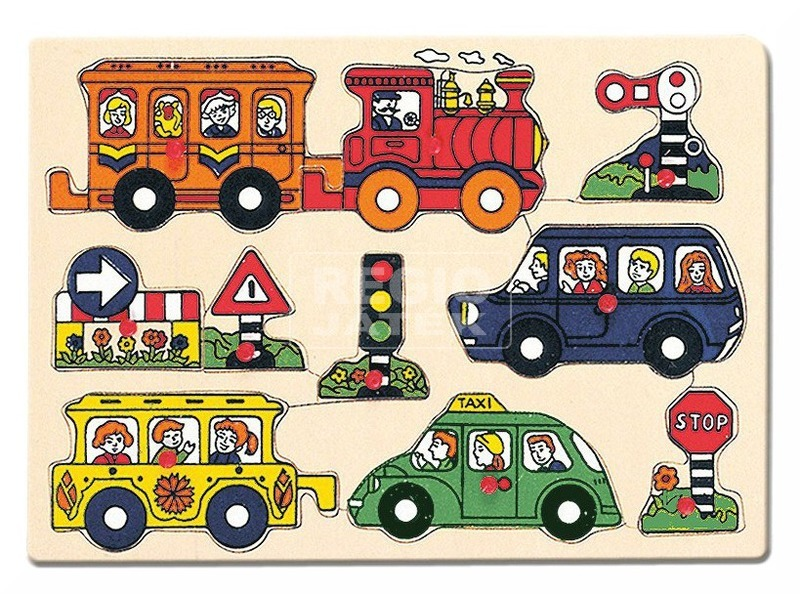 Járművek 8 darabos fa puzzle