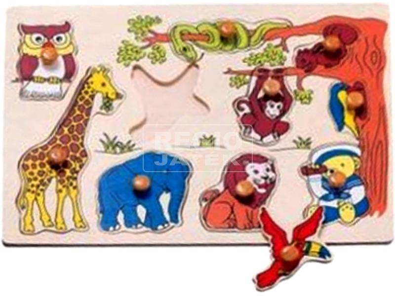Vadállatok 10 darabos fa puzzle