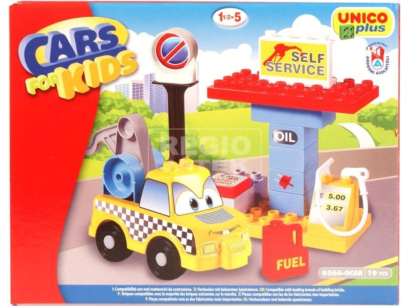 Benzinkút és szerviz 19 darabos építőjáték