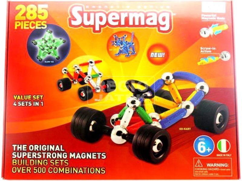 Supermag autóépítő 285 darabos mágneses készlet
