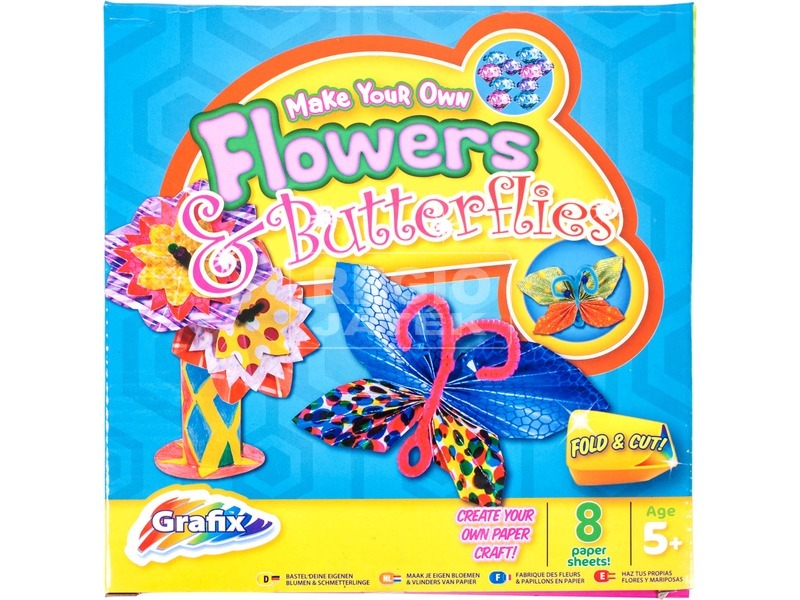 Virág és pillangó 8 darabos papírfigura készítő készlet