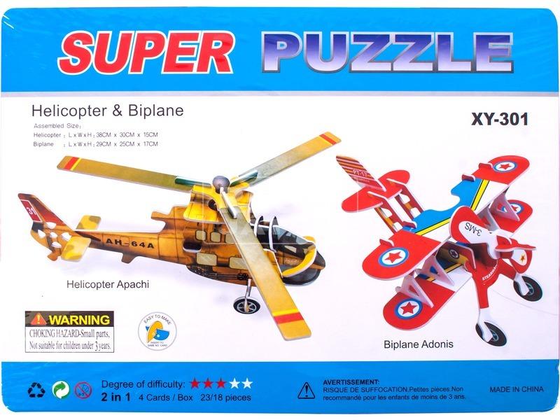 Nagy 3D puzzle - Helikopter és kétfedeles repülő