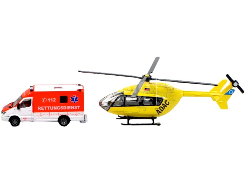 kép nagyítása Siku: Mercedes-Benz Sprinter mentőautó és Eurocopter EC145 helikopter 1:87