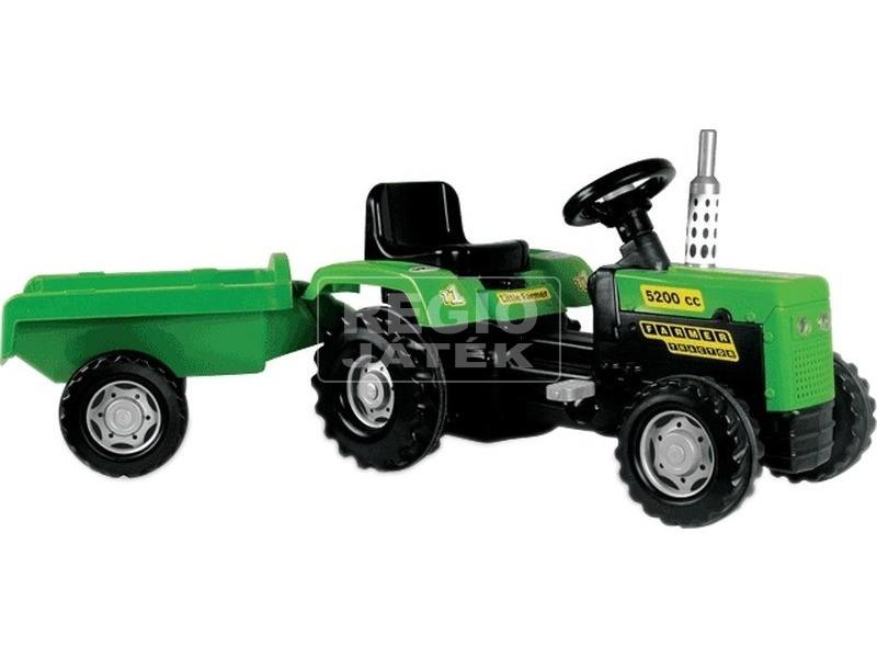 Dolu pedálos traktor utánfutóval - 146 cm