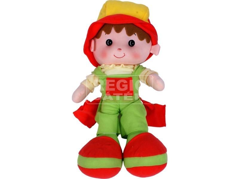 Rongybaba zöld-piros ruhában - 41 cm