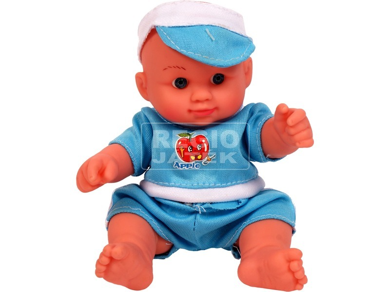 Mini játékbaba kék ruhában - 13 cm