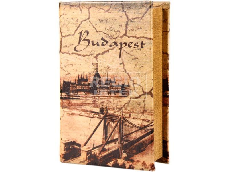 Antik Budapest műbőr könyvdoboz