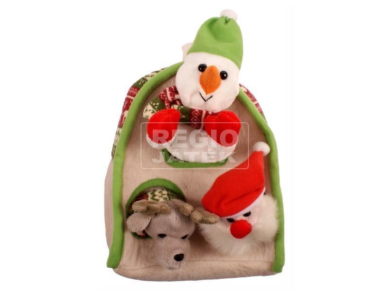 Karácsonyi plüss házikó ujjbábokkal - 25 cm