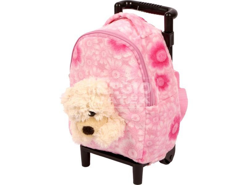 Gurulós hátizsák macifigurával - rózsaszín, 18 cm