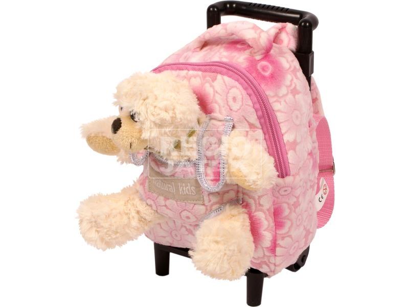 Gurulós hátizsák macival - rózsaszín, 18 cm