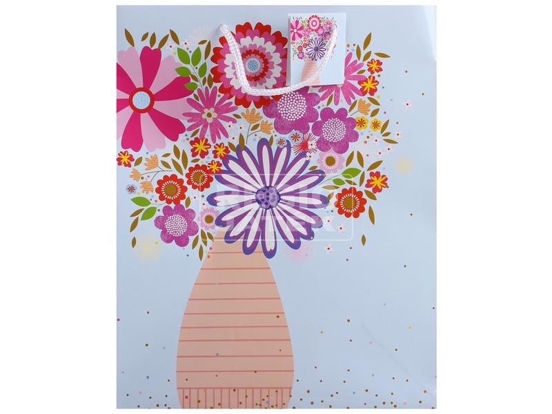 Váza virággal ajándéktáska - 18 x 23 cm
