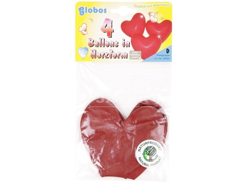 Szív alakú lufi 4 darabos készlet - 35 cm