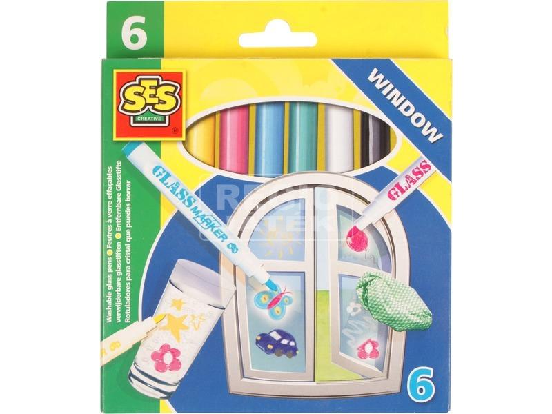 Lemosható üvegfestő filctoll 6 darabos készlet