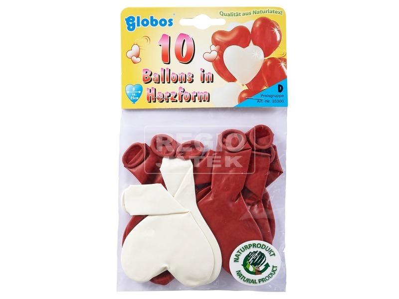Szív alakú lufi 10 darabos készlet - 25 cm