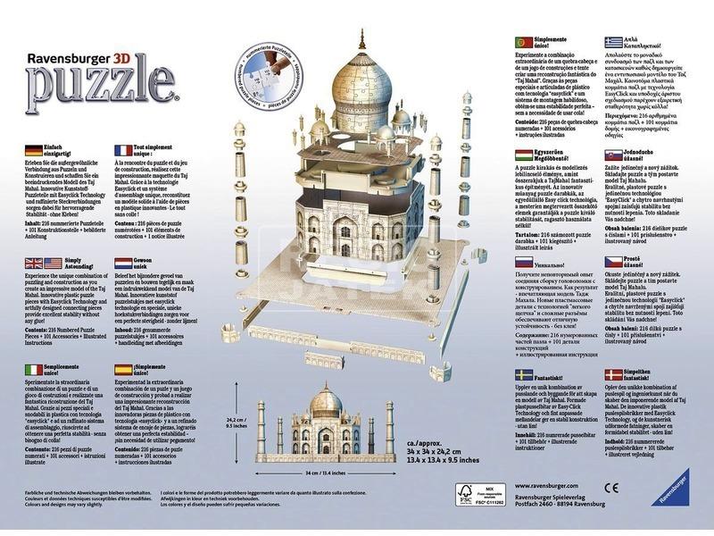 kép nagyítása Taj Mahal 216 darabos 3D puzzle