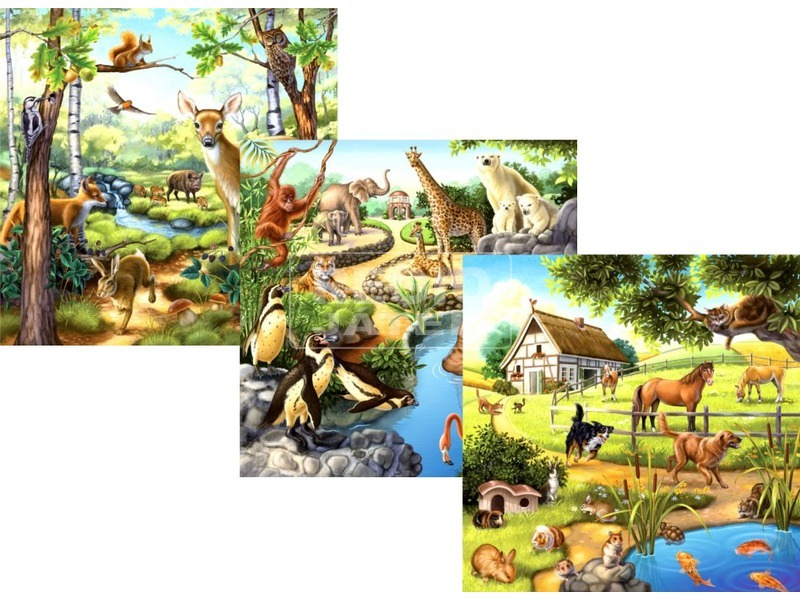 Állatok 3 x 49 darabos puzzle
