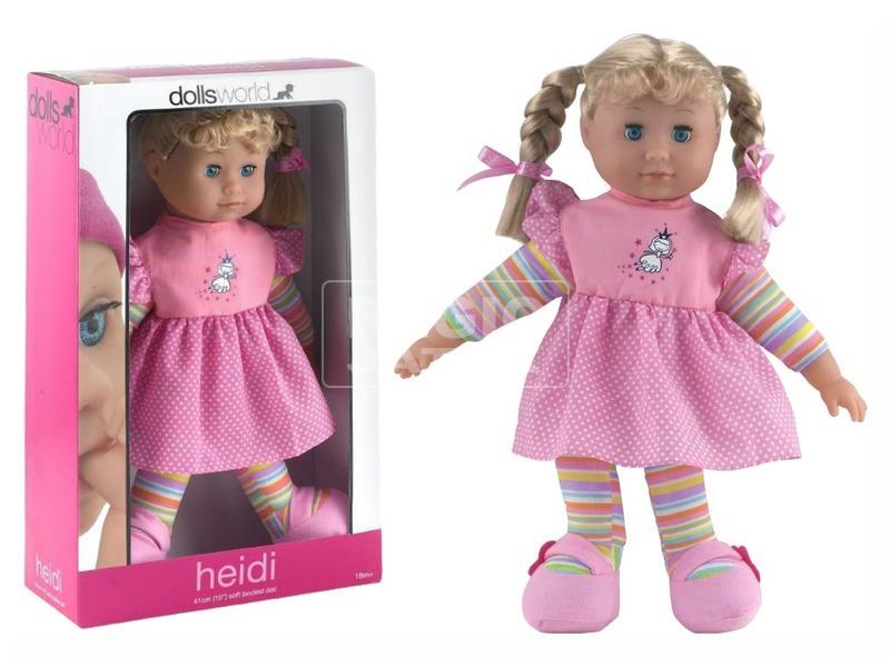 Baba, Heidi, 41 cm, puha testű, alvós szemű, fésülhető, 2 féle
