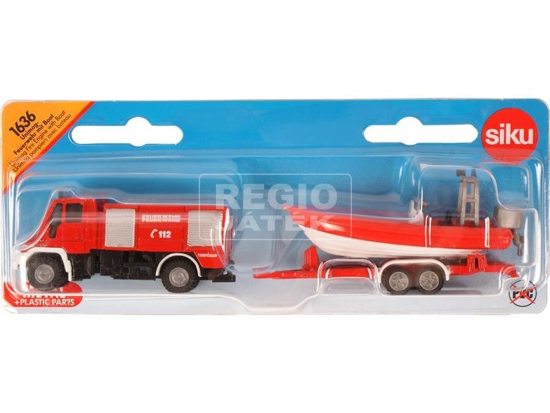 kép nagyítása Tűzoltóautó utánfutóval és hajóval