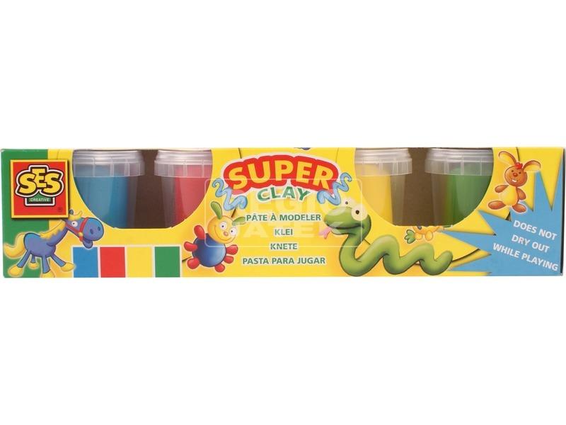 Színes gyurma 4 tégelyes készlet - alapszínek